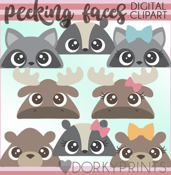 Peeking Forest Animal Faces Clipart