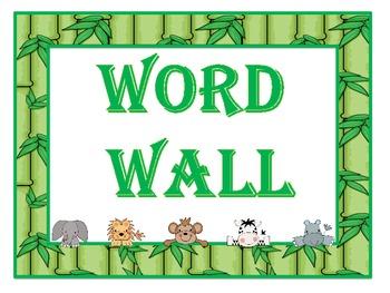 Peeking Jungle Babies Word Wall Headers