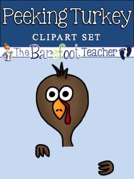 Peeking Turkey Clip Art
