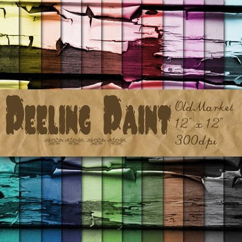 Peeling Paint Textures - Digital Paper Pack - 24 Different Papers - 12 x 12