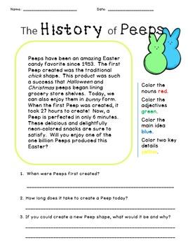 Peep Comprehension Passage -- Easter FREEBIE!