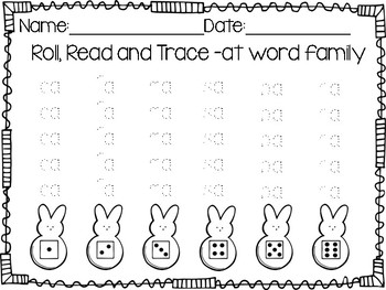 Peep Word Family Roll, Read and Trace