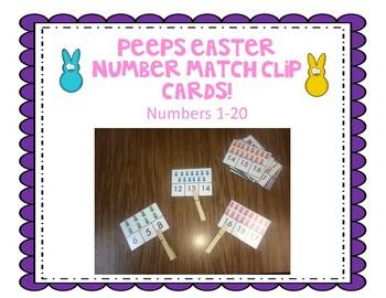 Peeps Easter Number clip cards