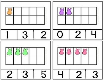 Peeps Ten Frames 0-10 Task Cards (Clip Cards)