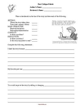 Peer Feedback Form: Fiction/Narrative Writing
