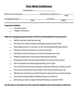 Peer Book Conference Checklist