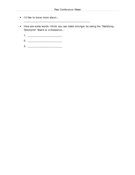 Peer Conference Sheet for Writing Workshop