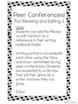 Peer Conferences for Revising and Editing