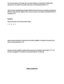 Peer Conferencing Handout: Content and Editing