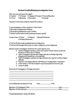 Peer Conflict/Bullying Investigation Form