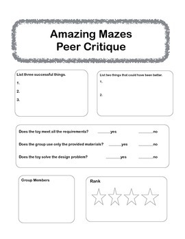 Peer Critique - Amazing Mazes