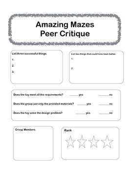 Peer Critique - Amazing Mazes