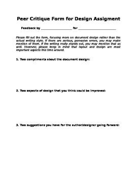 Peer Critique Form for Document Design Assignment