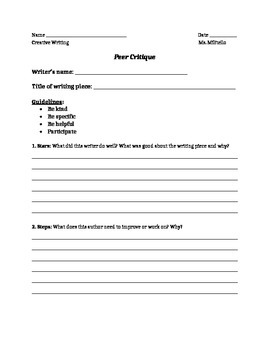 Peer Critique Rubric for Writing