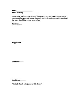 Peer Critique of an Essay or Assignment