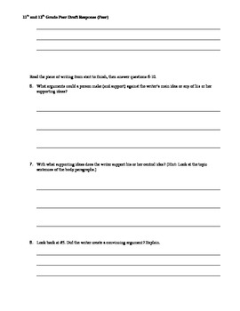 Peer Draft Response (11th and 12th grade)