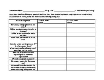 Peer Edit Character Analysis Essay