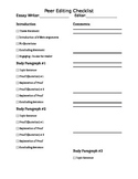 Peer Edit Checklist Essay