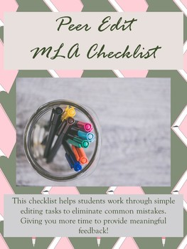 Peer Edit Checklist for Essays MLA