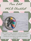 Writing Workshop: Peer Edit Checklist for Essays MLA
