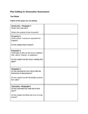 Peer Edit Sheet - Declaration of Independence Essay