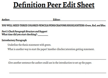 Peer Edit Sheet for Definition Paper