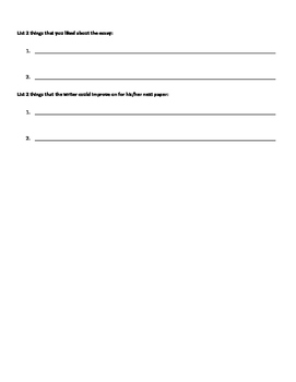 Peer Edit Sheet for Opinion Essays
