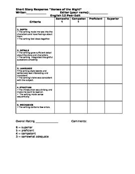 Peer Edit Sheet for Short Story Response