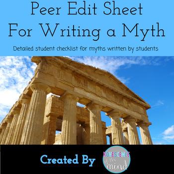 Peer Edit Sheet for Writing a Myth