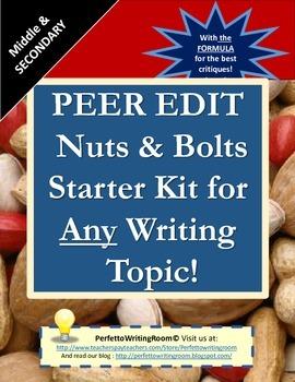 Peer Edit Starter Kit for ANY Writing Topic - Grades 6-12