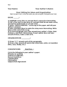 Peer Edit for Ideas and Organization