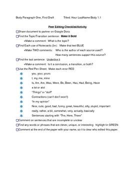 Peer Edit for Research Writing