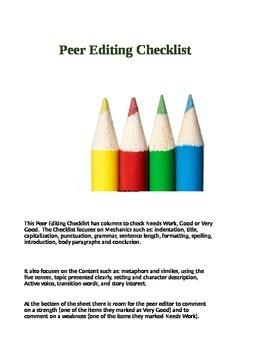Peer Editing Checklist 7-12