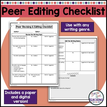 Peer Editing Checklist Worksheets Teaching Resources TpT