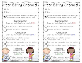 Peer Editing Checklist Teaching Resources | Teachers Pay Teachers