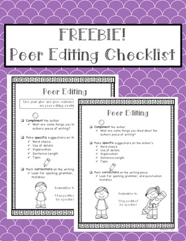 Peer Editing Checklist FREEBIE