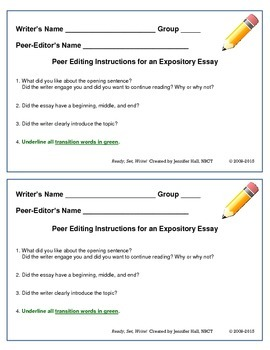 Peer-Editing Checklist: Narrative Writing