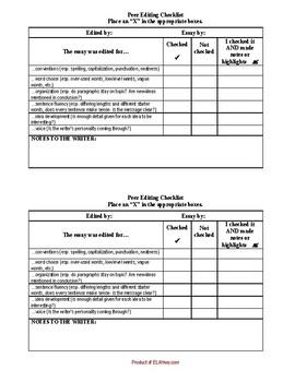 Peer Editing Checklist-Six Traits