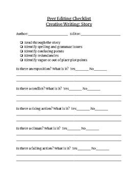 Peer Editing Checklist - Story