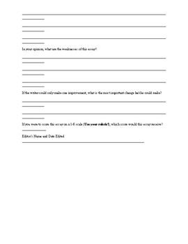 Peer Editing Checklist for Essays