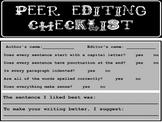 Peer Editing Checklist for Grades 1-4