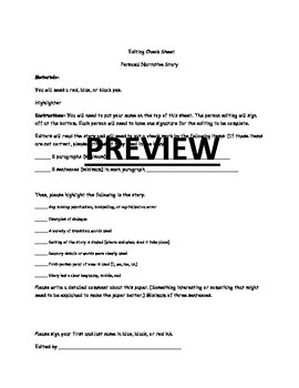 Peer Editing Checklist for Personal Narratives