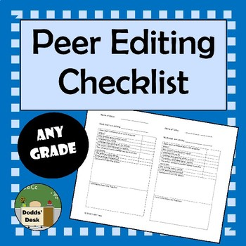 Peer Editing Checklist for Writing