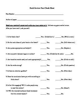 Peer Editing Checklist for a Book Review