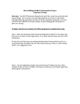 Peer Editing Guide For Persuasive Essays