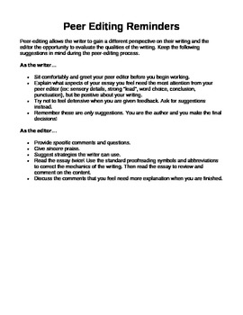 Peer Editing Guidelines and Tips