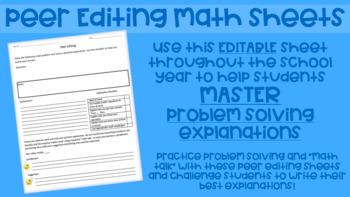 Peer Editing Math Sheets (EDITABLE)