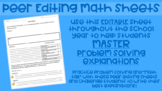 Peer Editing Math Sheets for Problem Solving (EDITABLE)