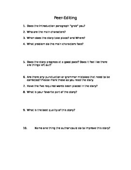Peer Editing Questionnaire