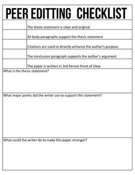 Peer Editing: Research Paper